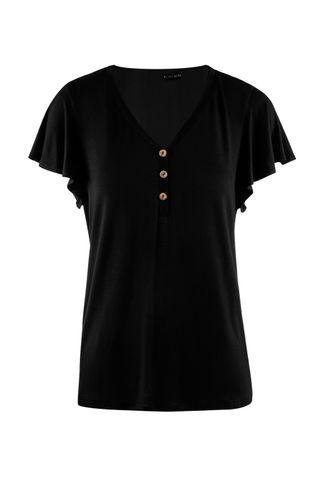 front_Flying Heart Black Short Sleeve Top