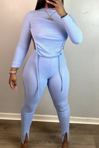 front_Plain Lace Up Pullover Baby Blue Pants Sets
