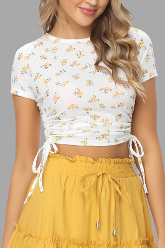 front_Corrie Eden White And Yellow Floral Print Knot Side Tee