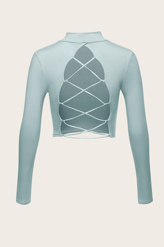 back_Canace Baby Blue Lace-Up Crop Top
