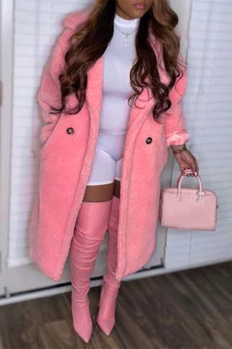 front_Casual Street Lapel Neck Pink Outerwear