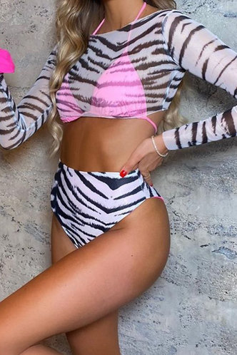 back_Garnet Elma Black And White Tiger Print Bikini