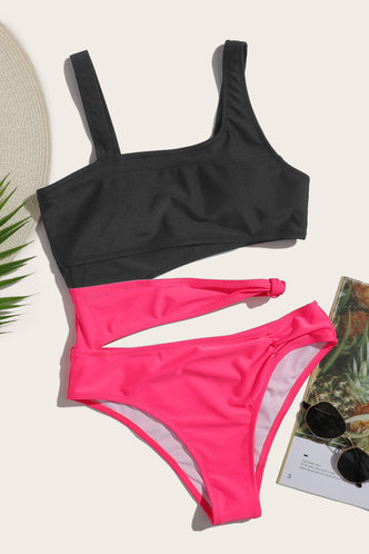 back_Asymmetrical Neck Solid Color Black And Rose Red One-Piece Swimsuits