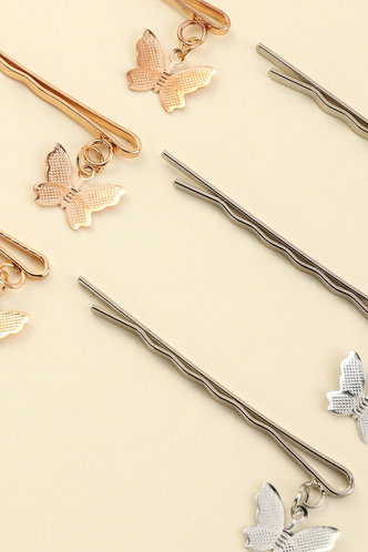 back_Camilla Elsie Gold And Silver Butterfly Decor Hair Clip 6pcs