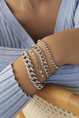 front_Marianne Emily Silver Chain Bracelet 4pcs