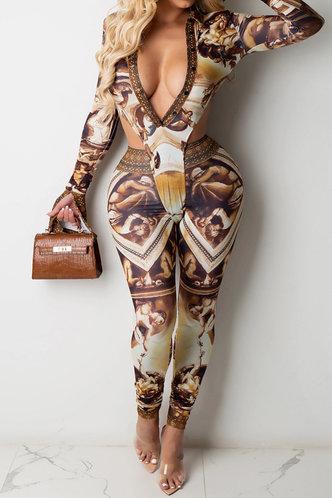 front_Barbara Korjas Oil Painting Print Jumpsuit