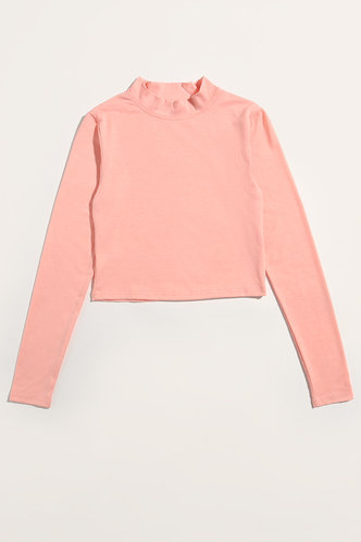 back_Needed Me Pastel Coral Pink Mock Neck Tee