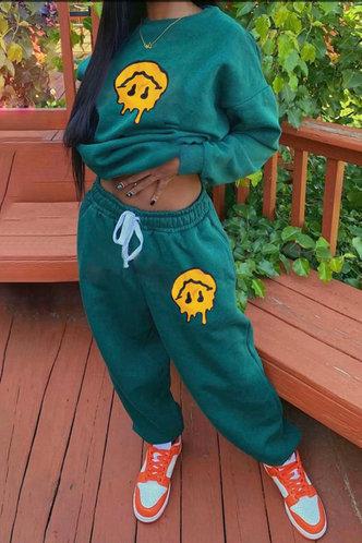 front_Smily Drawstring Green Sweatshirt Sets