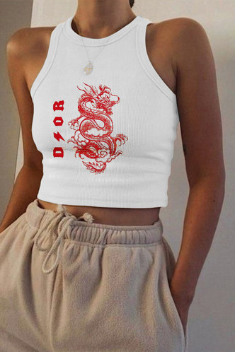 front_Chrystal Elsie White And Red Chinese Dragon Print Crop Top