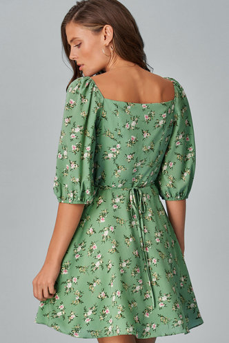 back_Kiss Me Light Green Floral Print Mini Dress