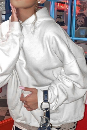 back_Casual Hoodie Letter White Sweatshirts & Hoodies