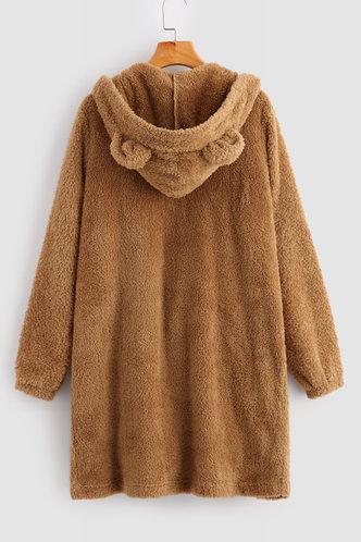 back_Cozy Bear Brown Teddy Coat