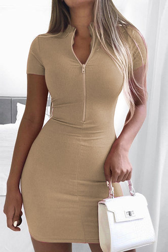 front_Ally Edwina Khaki Zig Up Dress