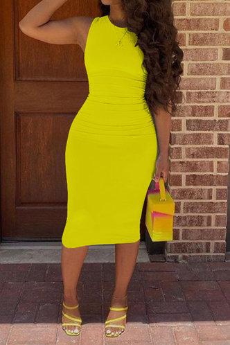 front_Gerda Emma Yellow Bodycon Tank  Dress