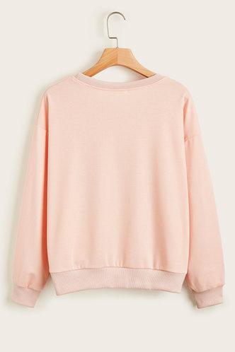 back_Emeline Casual Baby Pink Sweatshirt