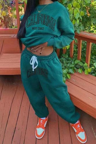 front_Letter Print Pullover Green Sweatshirt Sets