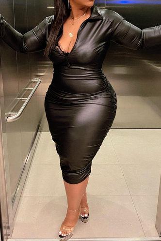 back_Kay Fesanan Black Plus Size Dress