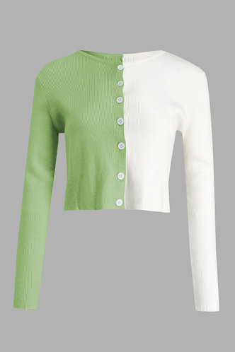 front_All That Glitters Green And White Colorblock Ribbed