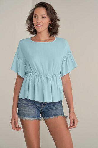 front_Dream Away Light Blue Short Sleeve Top