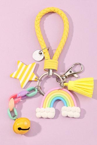 front_Alvira Ella Multicolor Star & Rainbow Charm Keychain