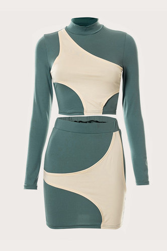 back_Color Block Regular Sleeve Long Sleeve Elastic Band Green And Beige Skirt Set