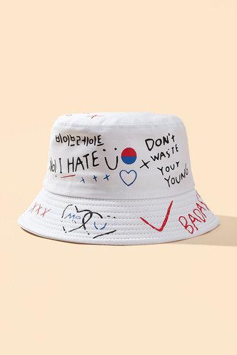 front_Jamie Eden White Letter Print Bucket Hat
