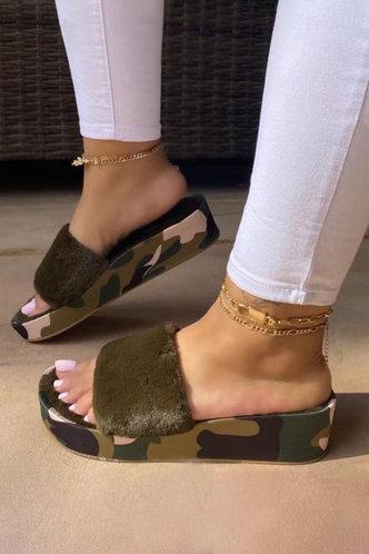 back_Solid Color   Low Heel Round Toe Camo Slides & Flip Flops