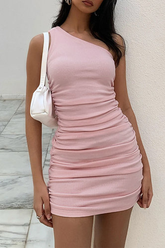 front_Regan Edith Baby Pink One Shoulder Ruched Dress
