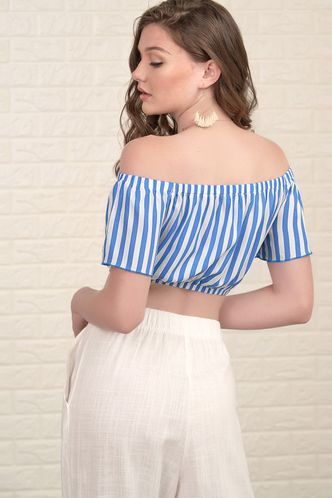 back_Dream Girl White And Blue Striped Short Sleeve Top