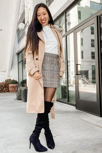 front_Let's Party  Grey Plaid Bodycon Skirt