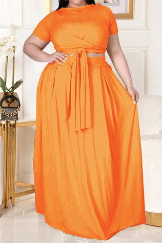 front_Davina Eunice Orange Plus Size Skirt Set