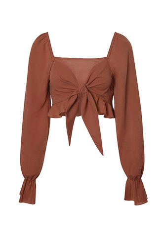 front_At Peace Rust Red Tie Front Blouse