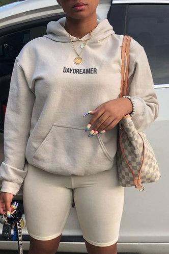 back_Casual Pocket Regular Fit Khaki Plus Size Sweatshirts & Hoodies