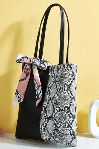 back_Patchwork Serpentine Black And Grey Snakeskin Print Tote Bags