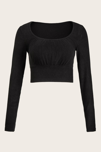 front_Better Together Black Crop Top