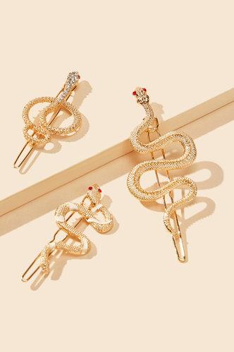 back_Vera Elsa Gold Snake Design Hair Clip 3pcs