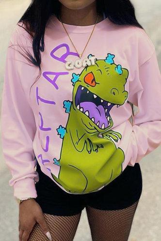 front_Crew Neck   Pullover Pink Sweatshirts & Hoodies