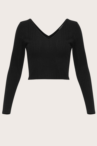 front_Face Me Black Ribbed Top