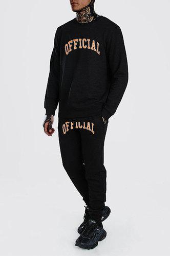 back_Casual Letter Black Men Pants Sets