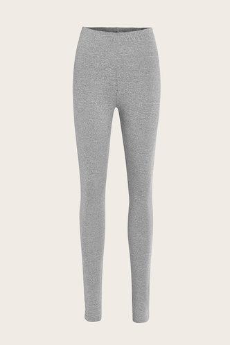 back_Mid Waist Plain Sweatpants High Waisted Pants Light Grey Leggings