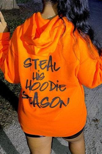 front_Letter Print  Pullover Orange Sweatshirts & Hoodies