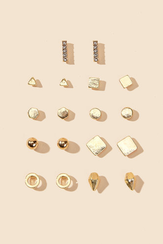 front_Mignon Edith Gold Stud Design Earrings 9pairs