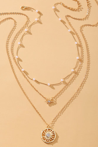 front_Millicent Elsa Gold Rhinestone & Faux Pearls Charm Layered Necklace