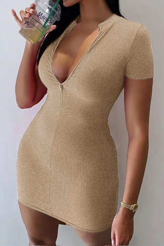 back_Ally Edwina Khaki Zig Up Dress