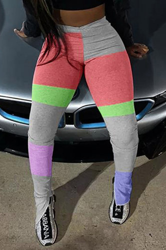 front_Ainslie Eleanore Grey Colorblock Activewear Bottom