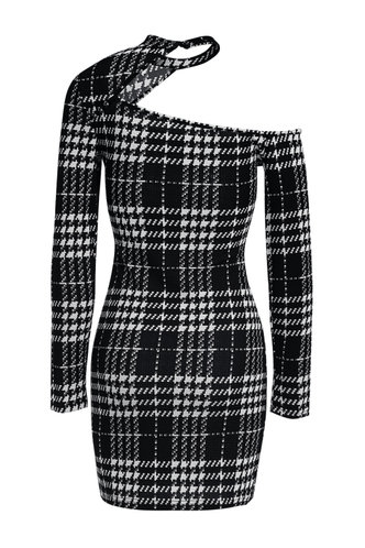 back_Bubbling Up Black And White Plaid Dress