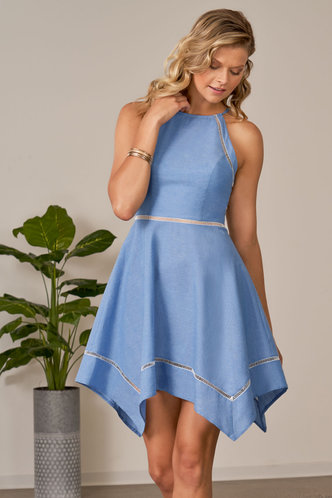 front_If I Stay Denim Blue Midi Dress