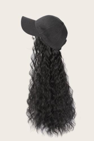 back_Geraldine Pilk Black Natural Long Curly Wig With Baseball Cap
