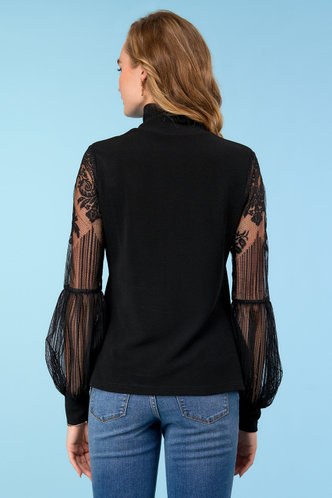back_Such A Statement Black Lace Lantern Sleeve Top