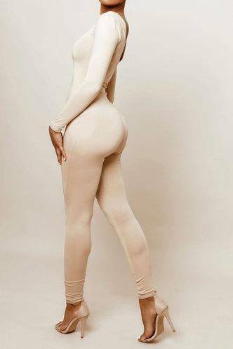back_Sexy Plain Deep V Neck Khaki Jumpsuits